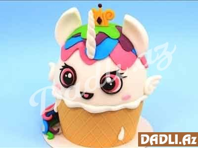 ICE CREAM Unicorn KAWAII tort bəzədilmə resepti - Video resept